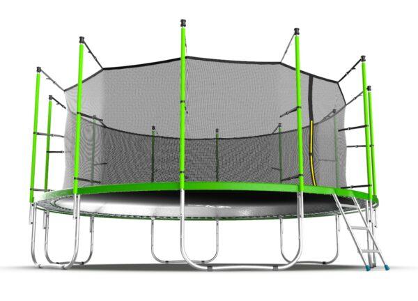 3 - EVO JUMP Internal 16ft (Green) Батут с внутренней сеткой и лестницей, диаметр 16ft (зеленый).